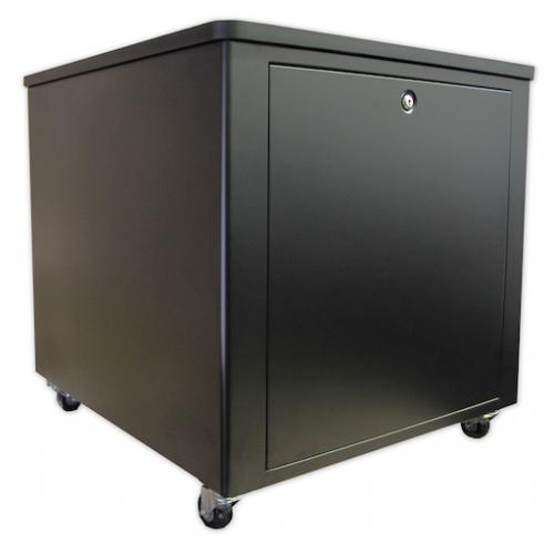 12U Silent Server Cabinet for AV, Small Office/SOHO - Black
